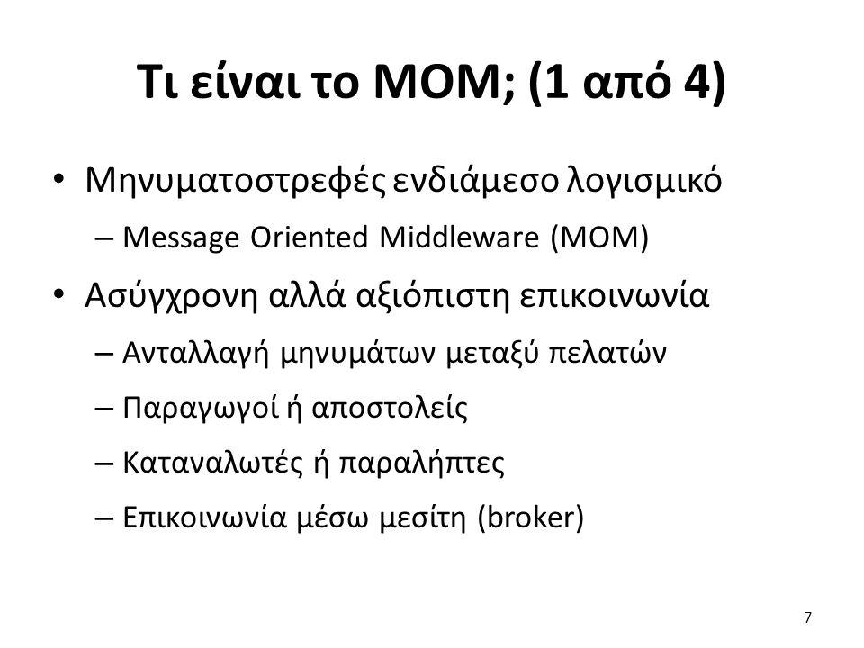 Τι είναι το MOM; (1 από 4) Μηνυματοστρεφές ενδιάμεσο λογισμικό – Message Oriented Middleware (MOM) Ασύγχρονη αλλά αξιόπιστη επικοινωνία – Ανταλλαγή μηνυμάτων μεταξύ πελατών – Παραγωγοί ή αποστολείς – Καταναλωτές ή παραλήπτες – Επικοινωνία μέσω μεσίτη (broker) 7