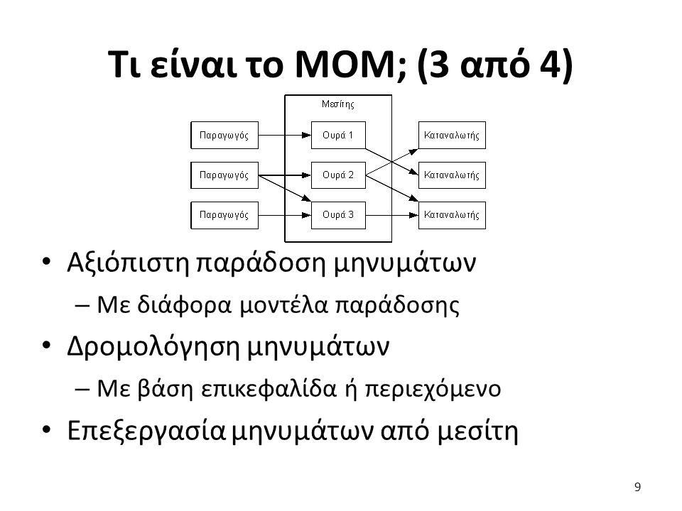Τι είναι το MOM; (3 από 4) Αξιόπιστη παράδοση μηνυμάτων – Με διάφορα μοντέλα παράδοσης Δρομολόγηση μηνυμάτων – Με βάση επικεφαλίδα ή περιεχόμενο Επεξεργασία μηνυμάτων από μεσίτη 9