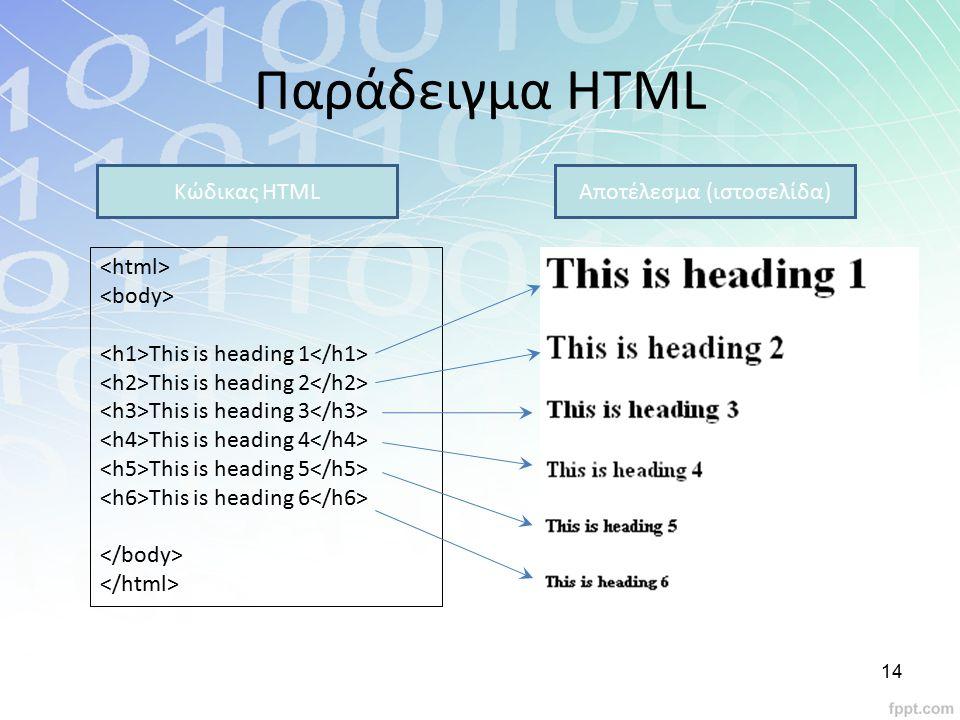 Παράδειγμα HTML This is heading 1 This is heading 2 This is heading 3 This is heading 4 This is heading 5 This is heading 6 Κώδικας HTMLΑποτέλεσμα (ισ