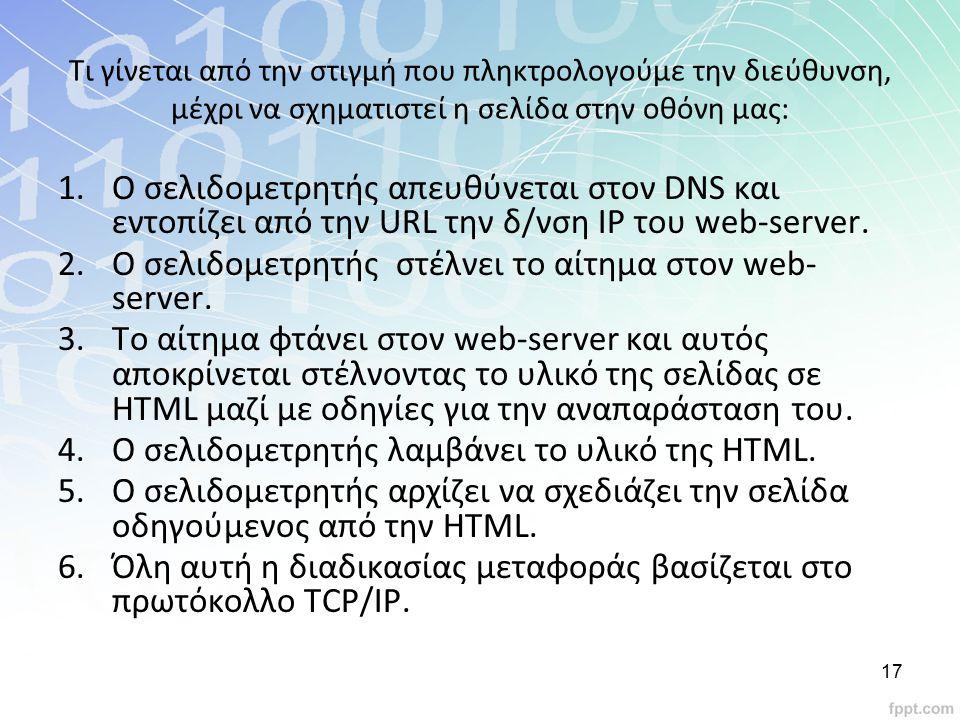 Τι γίνεται από την στιγμή που πληκτρολογούμε την διεύθυνση, μέχρι να σχηματιστεί η σελίδα στην οθόνη μας: 1.Ο σελιδομετρητής απευθύνεται στον DNS και