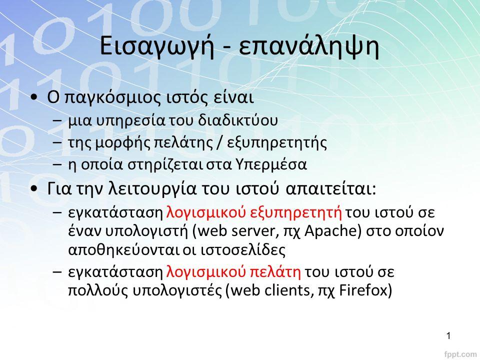 Σημαντικό Οι ηλεκτρονικές διευθύνσεις URL (Uniform Resource Locator – Ενιαίος Προσδιοριστής Πόρου) ή πολύ πιο απλά « διεύθυνση web » http://www.facebook.com/nick_kats/index.html Κατάληξη που δηλώνει: την περιοχή που ανήκει η ιστοσελίδα.