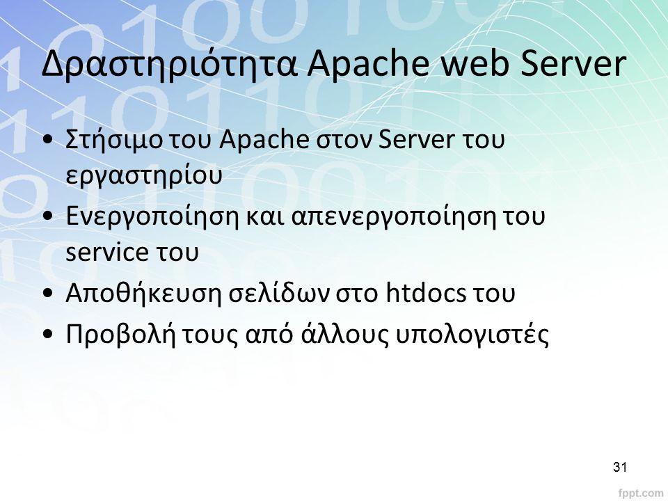 Δραστηριότητα Apache web Server Στήσιμο του Apache στον Server του εργαστηρίου Ενεργοποίηση και απενεργοποίηση του service του Αποθήκευση σελίδων στο