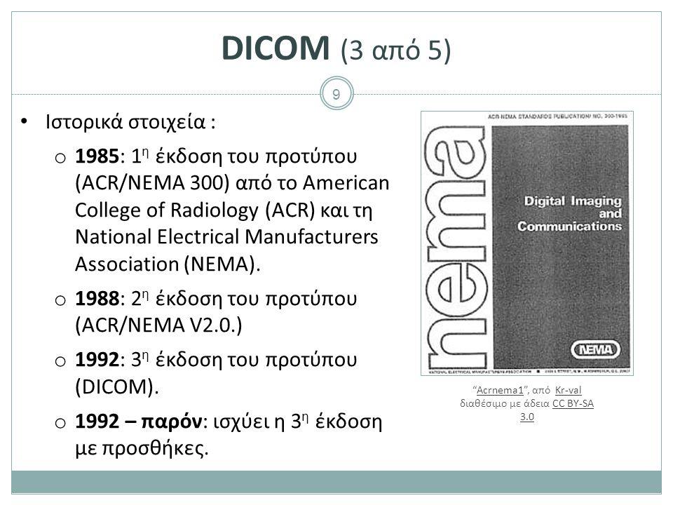9 DICOM (3 από 5) Ιστορικά στοιχεία : o 1985: 1 η έκδοση του προτύπου (ACR/NEMA 300) από το American College of Radiology (ACR) και τη National Electr