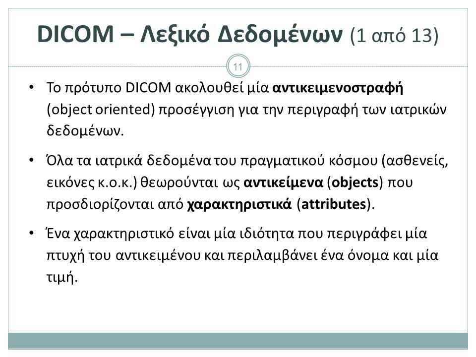 11 DICOM – Λεξικό Δεδομένων (1 από 13) Το πρότυπο DICOM ακολουθεί μία αντικειμενοστραφή (object oriented) προσέγγιση για την περιγραφή των ιατρικών δε
