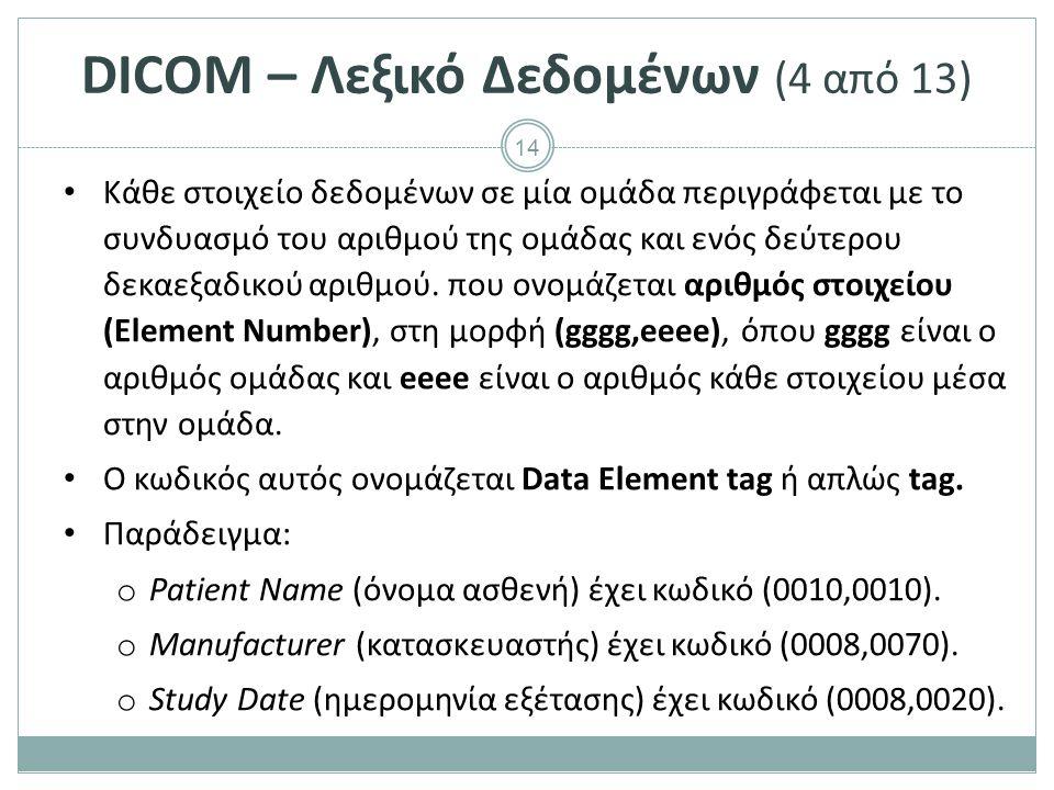 14 DICOM – Λεξικό Δεδομένων (4 από 13) Κάθε στοιχείο δεδομένων σε μία ομάδα περιγράφεται με το συνδυασμό του αριθμού της ομάδας και ενός δεύτερου δεκα