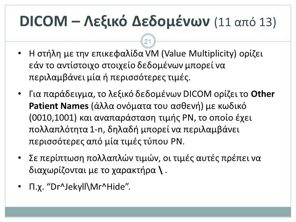 21 DICOM – Λεξικό Δεδομένων (11 από 13) Η στήλη με την επικεφαλίδα VM (Value Multiplicity) ορίζει εάν το αντίστοιχο στοιχείο δεδομένων μπορεί να περιλ