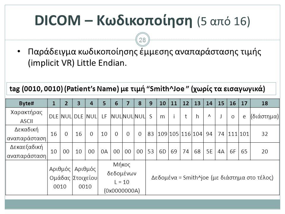 28 DICOM – Κωδικοποίηση (5 από 16) Παράδειγμα κωδικοποίησης έμμεσης αναπαράστασης τιμής (implicit VR) Little Endian. Byte#123456789101112131415161718