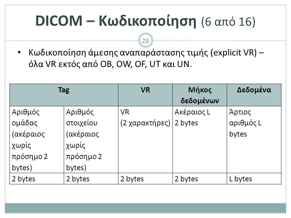 29 DICOM – Κωδικοποίηση (6 από 16) Κωδικοποίηση άμεσης αναπαράστασης τιμής (explicit VR) – όλα VR εκτός από OB, OW, OF, UT και UN. TagVR Μήκος δεδομέν