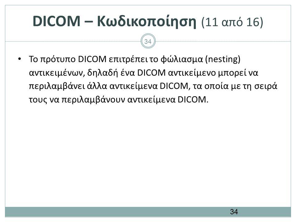 34 DICOM – Κωδικοποίηση (11 από 16) Το πρότυπο DICOM επιτρέπει το φώλιασμα (nesting) αντικειμένων, δηλαδή ένα DICOM αντικείμενο μπορεί να περιλαμβάνει
