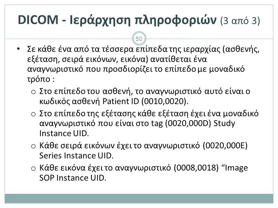 50 DICOM - Ιεράρχηση πληροφοριών (3 από 3) Σε κάθε ένα από τα τέσσερα επίπεδα της ιεραρχίας (ασθενής, εξέταση, σειρά εικόνων, εικόνα) ανατίθεται ένα α