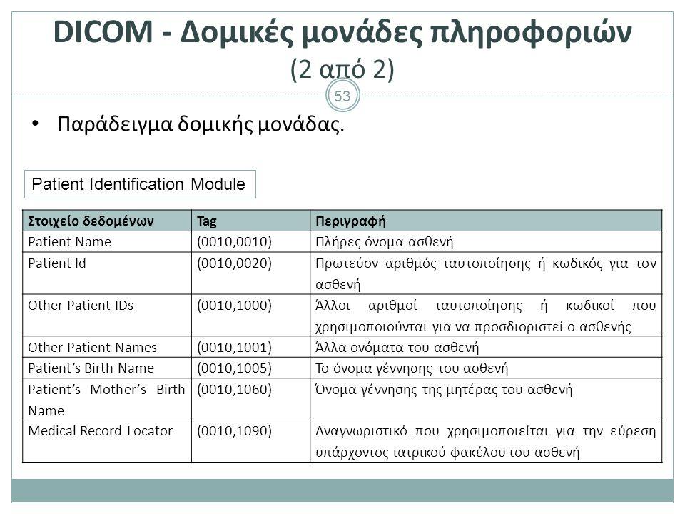 53 DICOM - Δομικές μονάδες πληροφοριών (2 από 2) Παράδειγμα δομικής μονάδας. Στοιχείο δεδομένωνTagΠεριγραφή Patient Name(0010,0010)Πλήρες όνομα ασθενή