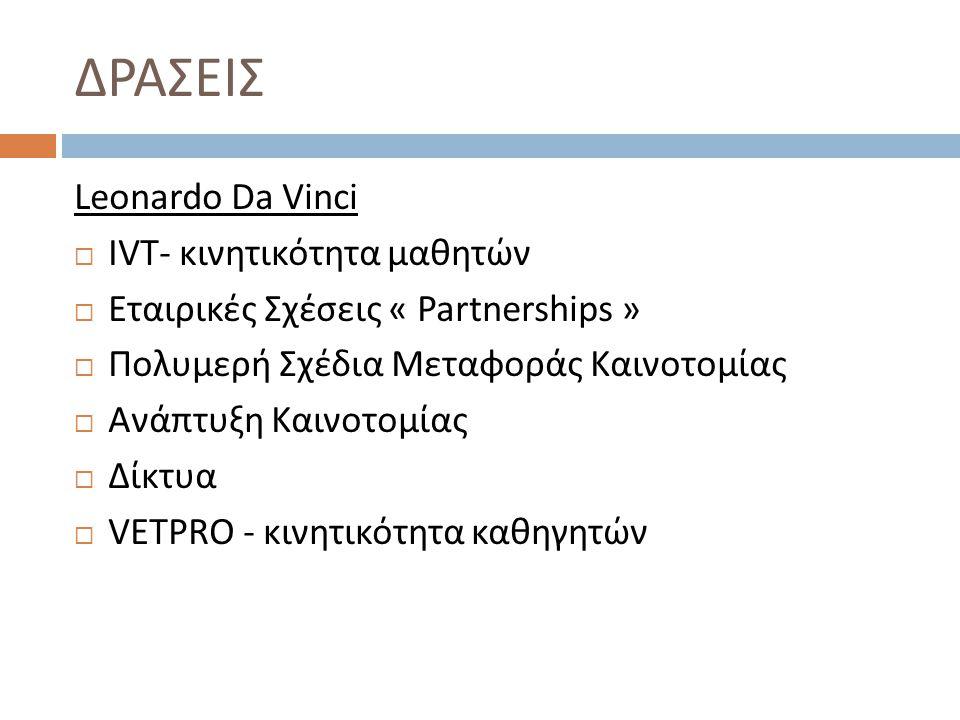 ΔΡΑΣΕΙΣ Leonardo Da Vinci  IVT- κινητικότητα μαθητών  Εταιρικές Σχέσεις « Partnerships »  Πολυμερή Σχέδια Μεταφοράς Καινοτομίας  Ανάπτυξη Καινοτομίας  Δίκτυα  VETPRO - κινητικότητα καθηγητών