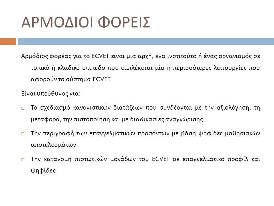 ΑΡΜΟΔΙΟΙ ΦΟΡΕΙΣ Αρμόδιος φορέας για το ECVET είναι μια αρχή, ένα ινστιτούτο ή ένας οργανισμός σε τοπικό ή κλαδικό επίπεδο που εμπλέκεται μία ή περισσότερες λειτουργίες που αφορούν το σύστημα ECVET.