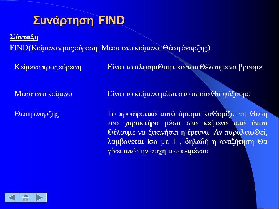 Συνάρτηση FIND Σύνταξη FΙΝD(Κείμενο προς εύρεση; Μέσα στο κείμενο; Θέση έναρξης) Κείμενο προς εύρεσηΕίναι το αλφαριΘμητικό που Θέλουμε να βρούμε. Μέσα
