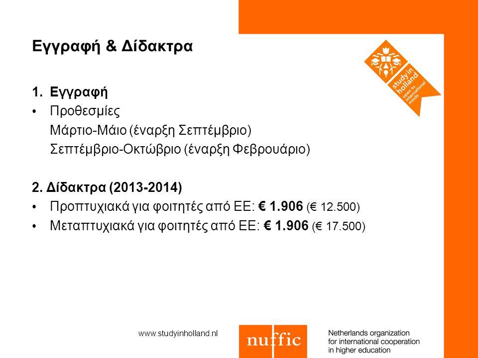 Εγγραφή & Δίδακτρα 1.Εγγραφή Προθεσμίες Μάρτιο-Μάιο (έναρξη Σεπτέμβριο) Σεπτέμβριο-Οκτώβριο (έναρξη Φεβρουάριο) 2. Δίδακτρα (2013-2014) Προπτυχιακά γι