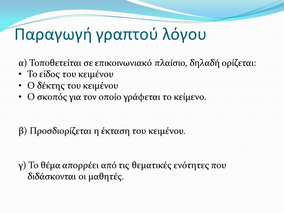 Παραγωγή γραπτού λόγου α) Τοποθετείται σε επικοινωνιακό πλαίσιο, δηλαδή ορίζεται: Το είδος του κειμένου Ο δέκτης του κειμένου Ο σκοπός για τον οποίο γ