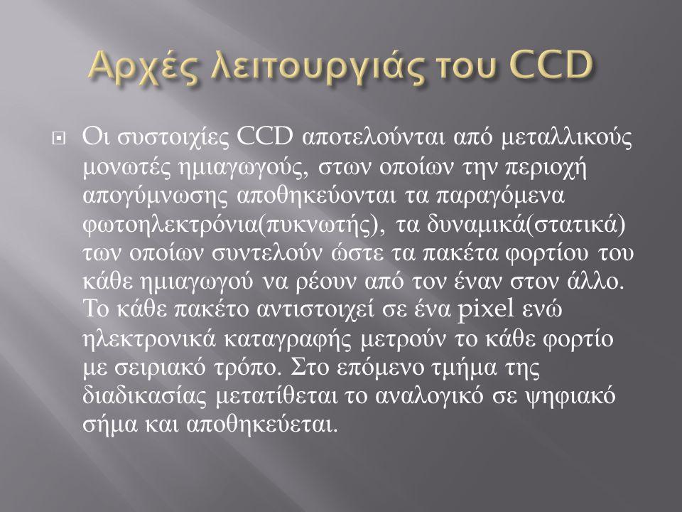  O ι συστοιχίες CCD αποτελούνται από μεταλλικούς μονωτές ημιαγωγούς, στων οποίων την περιοχή απογύμνωσης αποθηκεύονται τα παραγόμενα φωτοηλεκτρόνια (