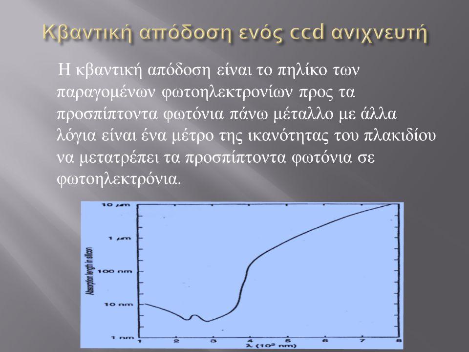 Η κβαντική απόδοση είναι το πηλίκο των παραγομένων φωτοηλεκτρονίων προς τα προσπίπτοντα φωτόνια πάνω μέταλλο με άλλα λόγια είναι ένα μέτρο της ικανότητας του πλακιδίου να μετατρέπει τα προσπίπτοντα φωτόνια σε φωτοηλεκτρόνια.