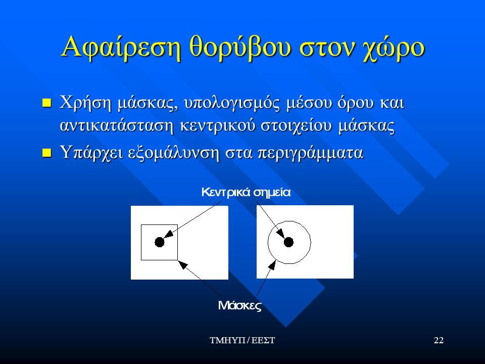 ΤΜΗΥΠ / ΕΕΣΤ22 Αφαίρεση θορύβου στον χώρο Χρήση μάσκας, υπολογισμός μέσου όρου και αντικατάσταση κεντρικού στοιχείου μάσκας Χρήση μάσκας, υπολογισμός μέσου όρου και αντικατάσταση κεντρικού στοιχείου μάσκας Υπάρχει εξομάλυνση στα περιγράμματα Υπάρχει εξομάλυνση στα περιγράμματα