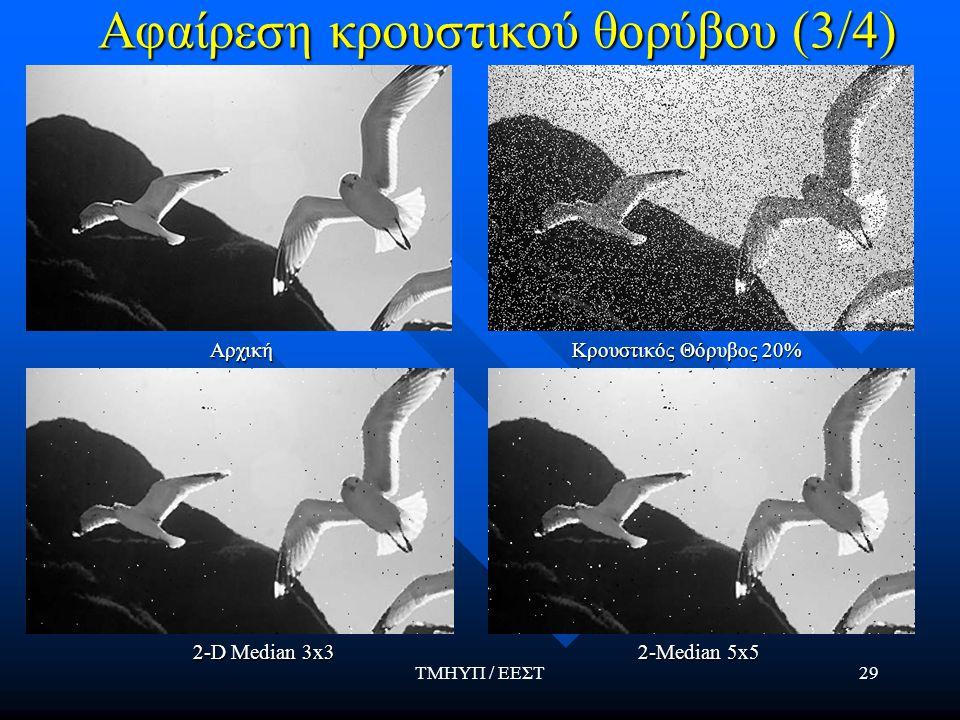 ΤΜΗΥΠ / ΕΕΣΤ29 Αφαίρεση κρουστικού θορύβου (3/4) Αρχική Κρουστικός Θόρυβος 20% 2-D Median 3x3 2-Median 5x5