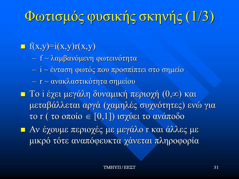 ΤΜΗΥΠ / ΕΕΣΤ31 Φωτισμός φυσικής σκηνής (1/3) f(x,y)=i(x,y)r(x,y) f(x,y)=i(x,y)r(x,y) –f ~ λαμβανόμενη φωτεινότητα –i ~ ένταση φωτός που προσπίπτει στο σημείο –r ~ ανακλαστικότητα σημείου Το i έχει μεγάλη δυναμική περιοχή (0,∞) και μεταβάλλεται αργά (χαμηλές συχνότητες) ενώ για το r ( το οποίο  [0,1]) ισχύει το ανάποδο Το i έχει μεγάλη δυναμική περιοχή (0,∞) και μεταβάλλεται αργά (χαμηλές συχνότητες) ενώ για το r ( το οποίο  [0,1]) ισχύει το ανάποδο Αν έχουμε περιοχές με μεγάλο r και άλλες με μικρό τότε αναπόφευκτα χάνεται πληροφορία Αν έχουμε περιοχές με μεγάλο r και άλλες με μικρό τότε αναπόφευκτα χάνεται πληροφορία