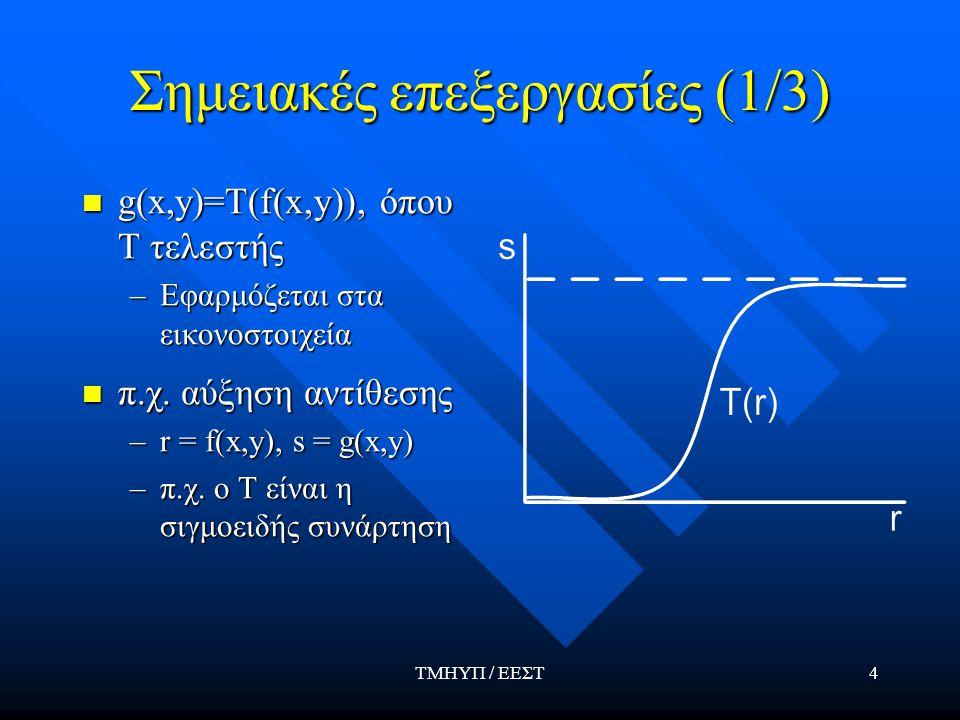 ΤΜΗΥΠ / ΕΕΣΤ4 Σημειακές επεξεργασίες (1/3) g(x,y)=T(f(x,y)), όπου Τ τελεστής g(x,y)=T(f(x,y)), όπου Τ τελεστής –Εφαρμόζεται στα εικονοστοιχεία π.χ.
