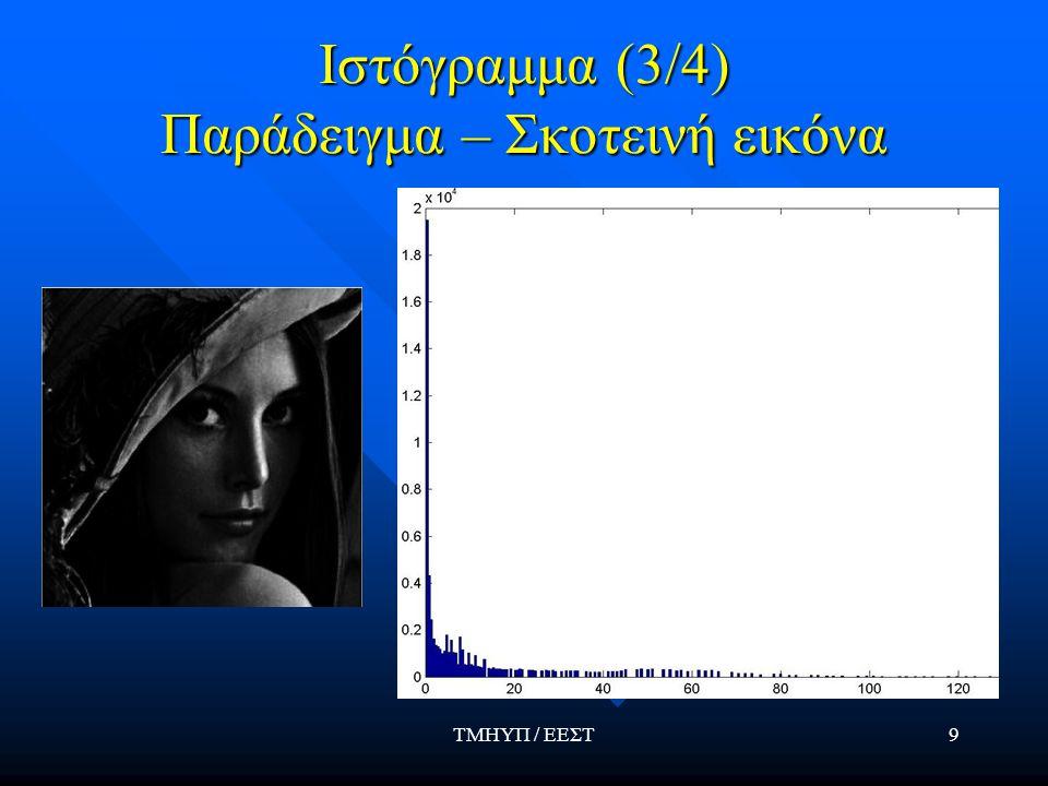ΤΜΗΥΠ / ΕΕΣΤ9 Ιστόγραμμα (3/4) Παράδειγμα – Σκοτεινή εικόνα
