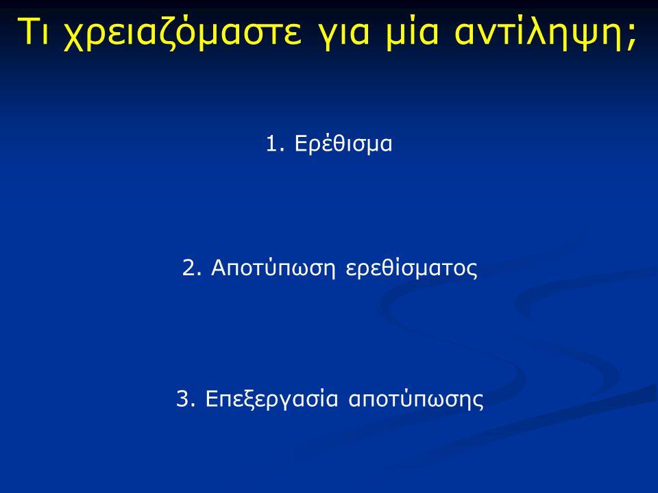 Τι χρειαζόμαστε για μία αντίληψη; 1. Ερέθισμα 2. Αποτύπωση ερεθίσματος 3. Επεξεργασία αποτύπωσης