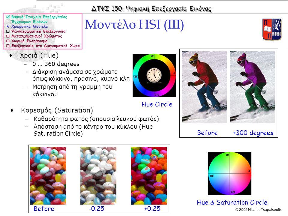 ΔΤΨΣ 150: Ψηφιακή Επεξεργασία Εικόνας © 2005 Nicolas Tsapatsoulis Μοντέλο HSI (III)  Βασικά Στοιχεία Επεξεργασίας Έγχρωμων Εικόνων  Χρωματικά Μοντέλα  Ψευδοχρωματική Επεξεργασία  Μετασχηματισμοί Χρώματος  Χωρικό Φιλτράρισμα  Επεξεργασία στο Διανυσματικό Χώρο Before +300 degrees Before -0.25 +0.25 Hue & Saturation Circle Hue Circle Χροιά (Hue) –0 … 360 degrees –Διάκριση ανάμεσα σε χρώματα όπως κόκκινο, πράσινο, κυανό κλπ –Μέτρηση από τη γραμμή του κόκκινου Κορεσμός (Saturation) –Καθαρότητα φωτός (απουσία λευκού φωτός) –Απόσταση από το κέντρο του κύκλου (Hue Saturation Circle)