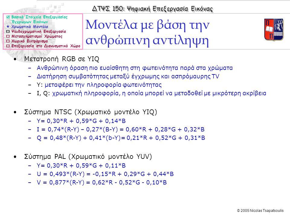 ΔΤΨΣ 150: Ψηφιακή Επεξεργασία Εικόνας © 2005 Nicolas Tsapatsoulis Μοντέλα με βάση την ανθρώπινη αντίληψη  Βασικά Στοιχεία Επεξεργασίας Έγχρωμων Εικόνων  Χρωματικά Μοντέλα  Ψευδοχρωματική Επεξεργασία  Μετασχηματισμοί Χρώματος  Χωρικό Φιλτράρισμα  Επεξεργασία στο Διανυσματικό Χώρο Μετατροπή RGB σε YIQ –Ανθρώπινη όραση πιο ευαίσθητη στη φωτεινότητα παρά στα χρώματα –Διατήρηση συμβατότητας μεταξύ έγχρωμης και ασπρόμαυρης TV –Υ: μεταφέρει την πληροφορία φωτεινότητας –Ι, Q: χρωματική πληροφορία, η οποία μπορεί να μεταδοθεί με μικρότερη ακρίβεια Σύστημα NTSC (Χρωματικό μοντέλο ΥΙQ) –Y= 0,30*R + 0,59*G + 0,14*B –I = 0,74*(R-Y) – 0,27*(B-Y) = 0,60*R + 0,28*G + 0,32*B –Q = 0,48*(R-Y) + 0,41*(b-Y)= 0,21*R + 0,52*G + 0,31*B Σύστημα PAL (Χρωματικό μοντέλο ΥUV) –Y= 0,30*R + 0,59*G + 0,11*B –U = 0,493*(R-Y) = -0,15*R + 0,29*G + 0,44*B –V = 0,877*(R-Y) = 0,62*R - 0,52*G - 0,10*B