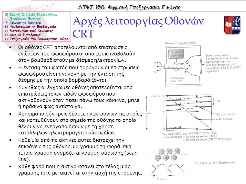 ΔΤΨΣ 150: Ψηφιακή Επεξεργασία Εικόνας © 2005 Nicolas Tsapatsoulis Αρχές λειτουργίας Οθονών CRT  Βασικά Στοιχεία Επεξεργασίας Έγχρωμων Εικόνων  Χρωματικά Μοντέλα  Ψευδοχρωματική Επεξεργασία  Μετασχηματισμοί Χρώματος  Χωρικό Φιλτράρισμα  Επεξεργασία στο Διανυσματικό Χώρο Οι οθόνες CRT αποτελούνται από επιστρώσεις ενώσεων του φωσφόρου οι οποίες ακτινοβολούν όταν βομβαρδιστούν με δέσμες ηλεκτρονίων.