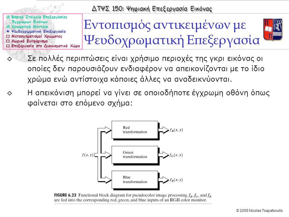 ΔΤΨΣ 150: Ψηφιακή Επεξεργασία Εικόνας © 2005 Nicolas Tsapatsoulis Εντοπισμός αντικειμένων με Ψευδοχρωματική Επεξεργασία  Βασικά Στοιχεία Επεξεργασίας Έγχρωμων Εικόνων  Χρωματικά Μοντέλα  Ψευδοχρωματική Επεξεργασία  Μετασχηματισμοί Χρώματος  Χωρικό Φιλτράρισμα  Επεξεργασία στο Διανυσματικό Χώρο ◊Σε πολλές περιπτώσεις είναι χρήσιμο περιοχές της γκρι εικόνας οι οποίες δεν παρουσιάζουν ενδιαφέρον να απεικονίζονται με το ίδιο χρώμα ενώ αντίστοιχα κάποιες άλλες να αναδεικνύονται.