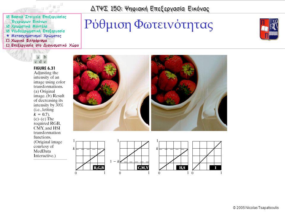 ΔΤΨΣ 150: Ψηφιακή Επεξεργασία Εικόνας © 2005 Nicolas Tsapatsoulis Ρύθμιση Φωτεινότητας  Βασικά Στοιχεία Επεξεργασίας Έγχρωμων Εικόνων  Χρωματικά Μοντέλα  Ψευδοχρωματική Επεξεργασία  Μετασχηματισμοί Χρώματος  Χωρικό Φιλτράρισμα  Επεξεργασία στο Διανυσματικό Χώρο