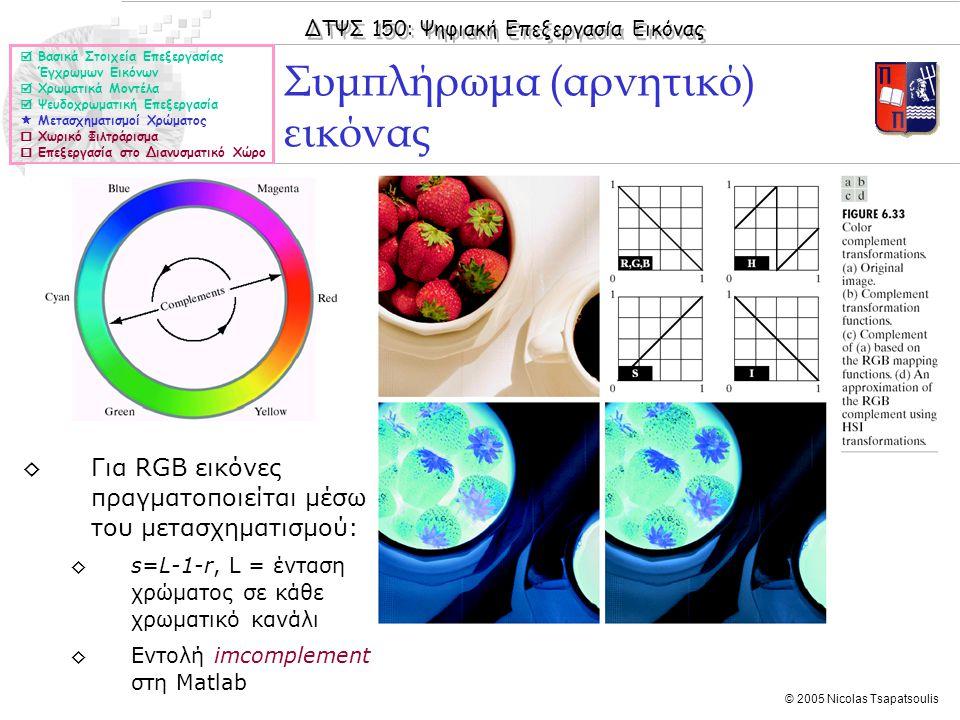 ΔΤΨΣ 150: Ψηφιακή Επεξεργασία Εικόνας © 2005 Nicolas Tsapatsoulis Συμπλήρωμα (αρνητικό) εικόνας  Βασικά Στοιχεία Επεξεργασίας Έγχρωμων Εικόνων  Χρωμ