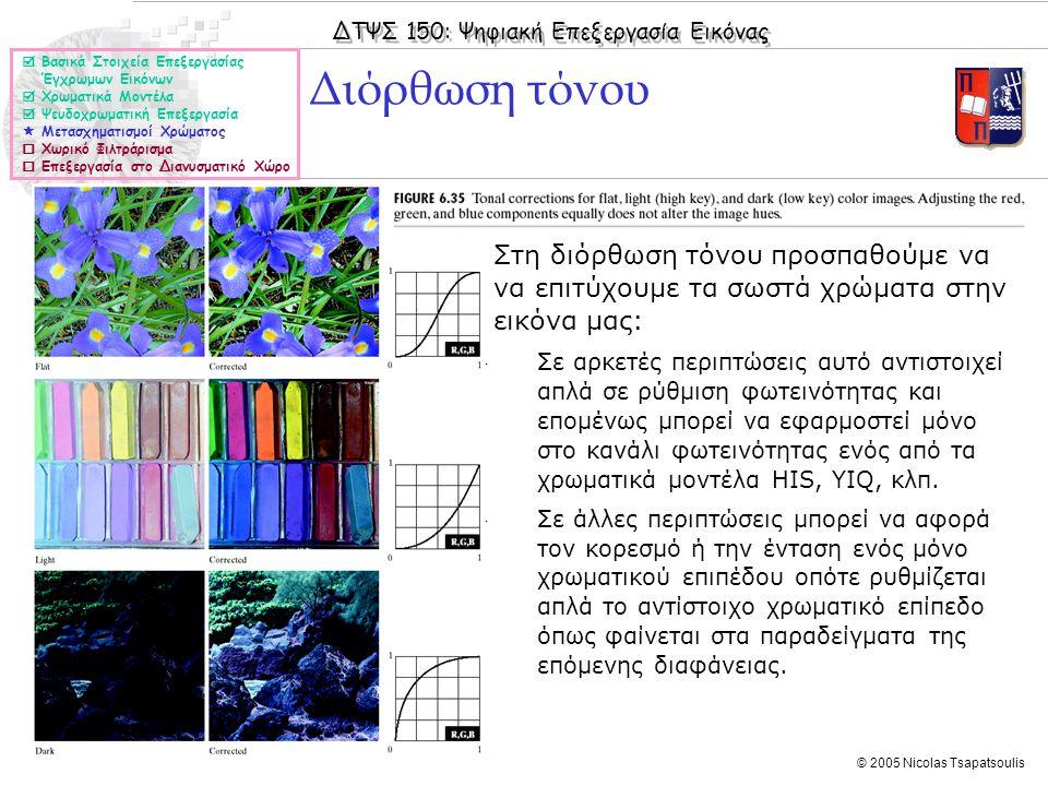 ΔΤΨΣ 150: Ψηφιακή Επεξεργασία Εικόνας © 2005 Nicolas Tsapatsoulis Διόρθωση τόνου  Βασικά Στοιχεία Επεξεργασίας Έγχρωμων Εικόνων  Χρωματικά Μοντέλα  Ψευδοχρωματική Επεξεργασία  Μετασχηματισμοί Χρώματος  Χωρικό Φιλτράρισμα  Επεξεργασία στο Διανυσματικό Χώρο ◊Στη διόρθωση τόνου προσπαθούμε να να επιτύχουμε τα σωστά χρώματα στην εικόνα μας: ◊Σε αρκετές περιπτώσεις αυτό αντιστοιχεί απλά σε ρύθμιση φωτεινότητας και επομένως μπορεί να εφαρμοστεί μόνο στο κανάλι φωτεινότητας ενός από τα χρωματικά μοντέλα HIS, YIQ, κλπ.