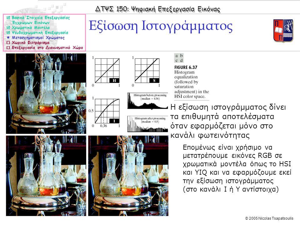 ΔΤΨΣ 150: Ψηφιακή Επεξεργασία Εικόνας © 2005 Nicolas Tsapatsoulis Εξίσωση Ιστογράμματος  Βασικά Στοιχεία Επεξεργασίας Έγχρωμων Εικόνων  Χρωματικά Μοντέλα  Ψευδοχρωματική Επεξεργασία  Μετασχηματισμοί Χρώματος  Χωρικό Φιλτράρισμα  Επεξεργασία στο Διανυσματικό Χώρο ◊Η εξίσωση ιστογράμματος δίνει τα επιθυμητά αποτελέσματα όταν εφαρμόζεται μόνο στο κανάλι φωτεινότητας ◊Επομένως είναι χρήσιμο να μετατρέπουμε εικόνες RGB σε χρωματικά μοντέλα όπως το HSΙ και YIQ και να εφαρμόζουμε εκεί την εξίσωση ιστογράμματος (στο κανάλι Ι ή Υ αντίστοιχα)