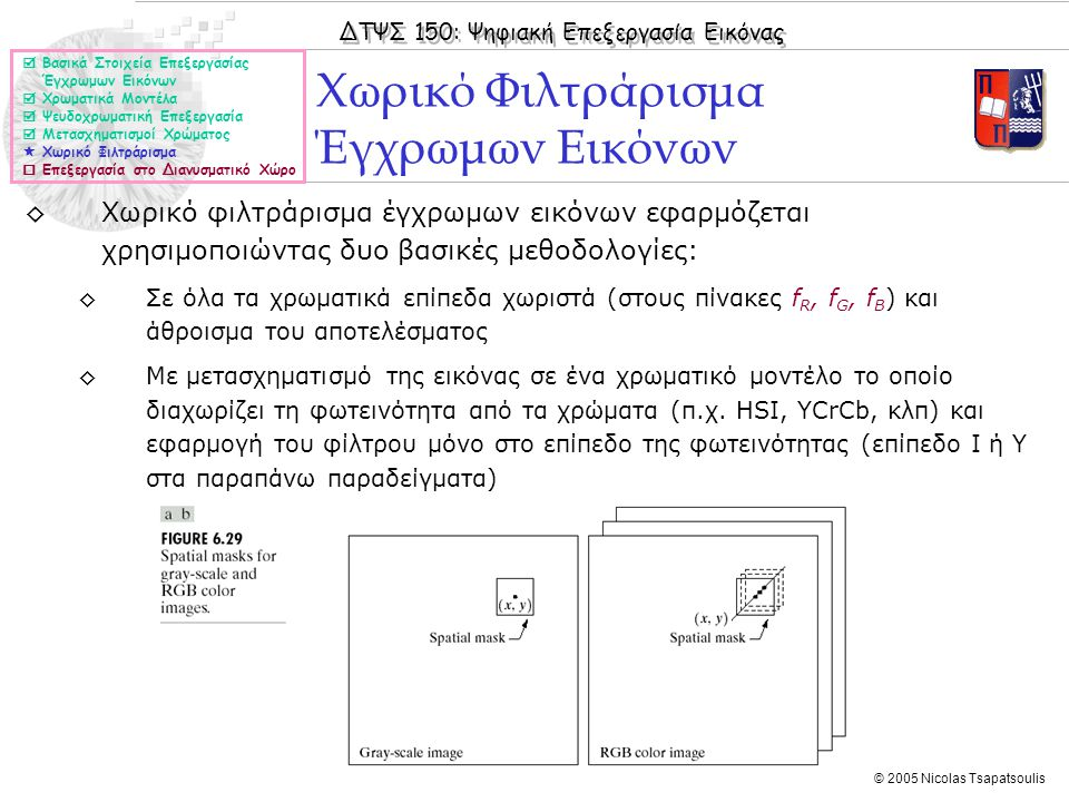 ΔΤΨΣ 150: Ψηφιακή Επεξεργασία Εικόνας © 2005 Nicolas Tsapatsoulis ◊Χωρικό φιλτράρισμα έγχρωμων εικόνων εφαρμόζεται χρησιμοποιώντας δυο βασικές μεθοδολογίες: ◊Σε όλα τα χρωματικά επίπεδα χωριστά (στους πίνακες f R, f G, f B ) και άθροισμα του αποτελέσματος ◊Με μετασχηματισμό της εικόνας σε ένα χρωματικό μοντέλο το οποίο διαχωρίζει τη φωτεινότητα από τα χρώματα (π.χ.
