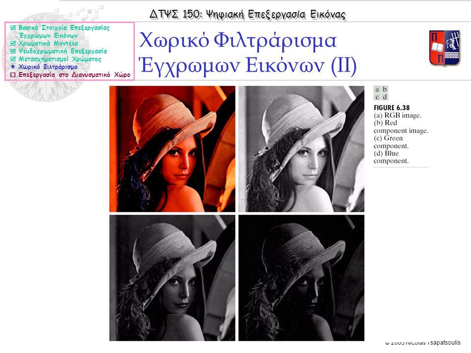 ΔΤΨΣ 150: Ψηφιακή Επεξεργασία Εικόνας © 2005 Nicolas Tsapatsoulis Χωρικό Φιλτράρισμα Έγχρωμων Εικόνων (ΙΙ)  Βασικά Στοιχεία Επεξεργασίας Έγχρωμων Εικόνων  Χρωματικά Μοντέλα  Ψευδοχρωματική Επεξεργασία  Μετασχηματισμοί Χρώματος  Χωρικό Φιλτράρισμα  Επεξεργασία στο Διανυσματικό Χώρο