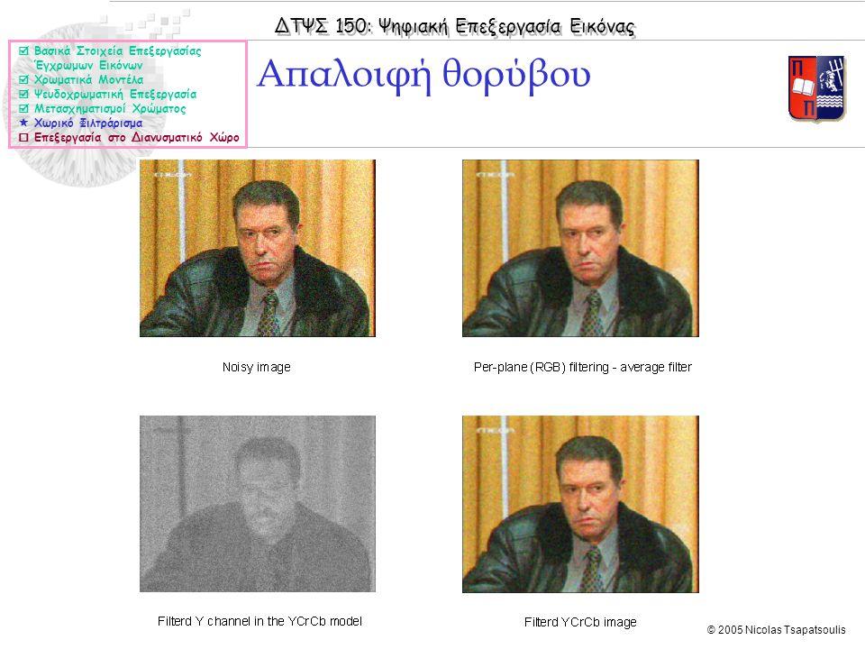 ΔΤΨΣ 150: Ψηφιακή Επεξεργασία Εικόνας © 2005 Nicolas Tsapatsoulis Απαλοιφή θορύβου  Βασικά Στοιχεία Επεξεργασίας Έγχρωμων Εικόνων  Χρωματικά Μοντέλα