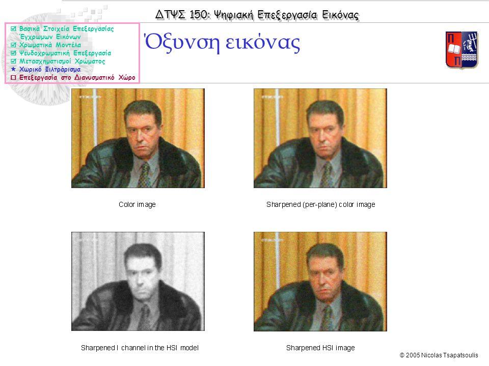 ΔΤΨΣ 150: Ψηφιακή Επεξεργασία Εικόνας © 2005 Nicolas Tsapatsoulis Όξυνση εικόνας  Βασικά Στοιχεία Επεξεργασίας Έγχρωμων Εικόνων  Χρωματικά Μοντέλα 