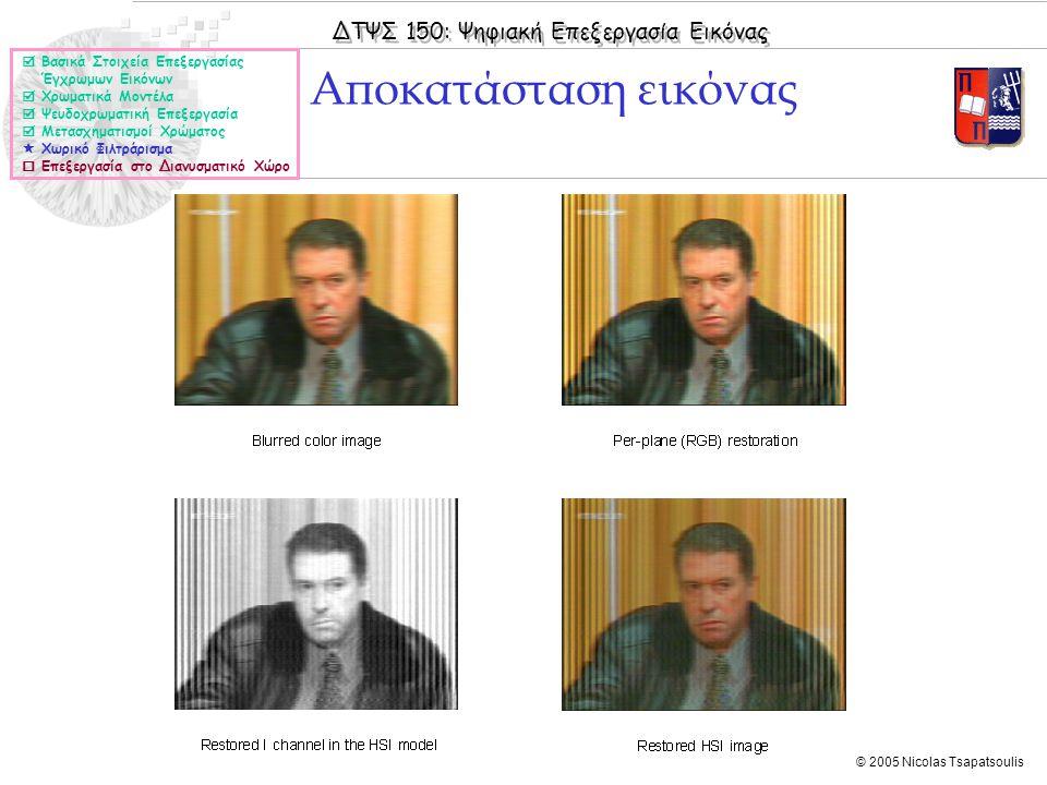 ΔΤΨΣ 150: Ψηφιακή Επεξεργασία Εικόνας © 2005 Nicolas Tsapatsoulis Αποκατάσταση εικόνας  Βασικά Στοιχεία Επεξεργασίας Έγχρωμων Εικόνων  Χρωματικά Μον