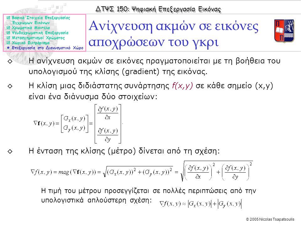 ΔΤΨΣ 150: Ψηφιακή Επεξεργασία Εικόνας © 2005 Nicolas Tsapatsoulis ◊Η ανίχνευση ακμών σε εικόνες πραγματοποιείται με τη βοήθεια του υπολογισμού της κλί