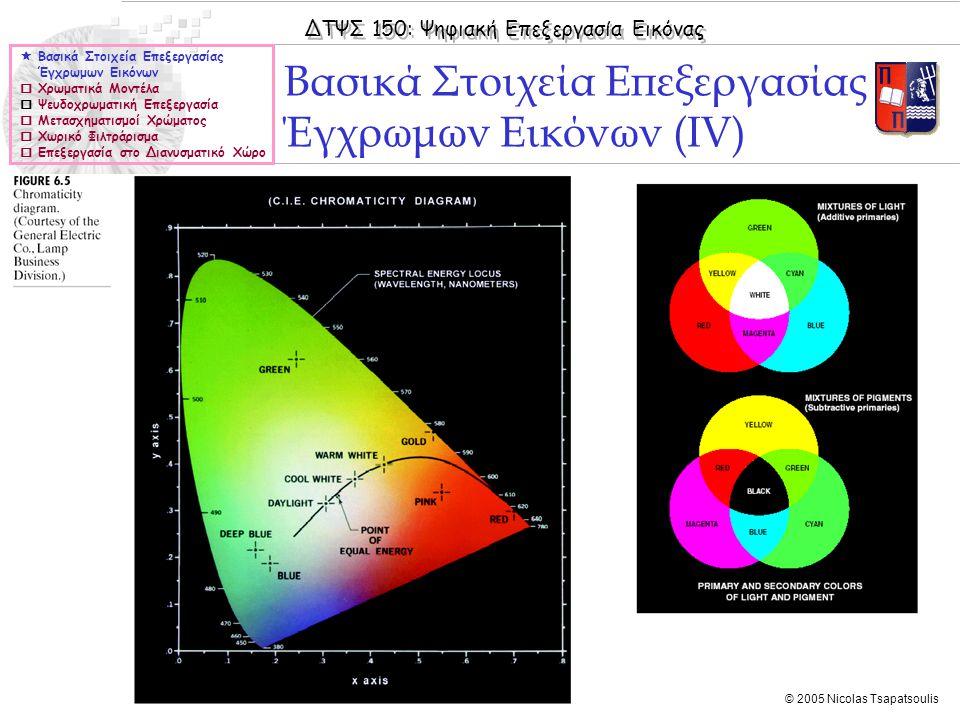 ΔΤΨΣ 150: Ψηφιακή Επεξεργασία Εικόνας © 2005 Nicolas Tsapatsoulis Βασικά Στοιχεία Επεξεργασίας Έγχρωμων Εικόνων (IV)  Βασικά Στοιχεία Επεξεργασίας Έγχρωμων Εικόνων  Χρωματικά Μοντέλα  Ψευδοχρωματική Επεξεργασία  Μετασχηματισμοί Χρώματος  Χωρικό Φιλτράρισμα  Επεξεργασία στο Διανυσματικό Χώρο