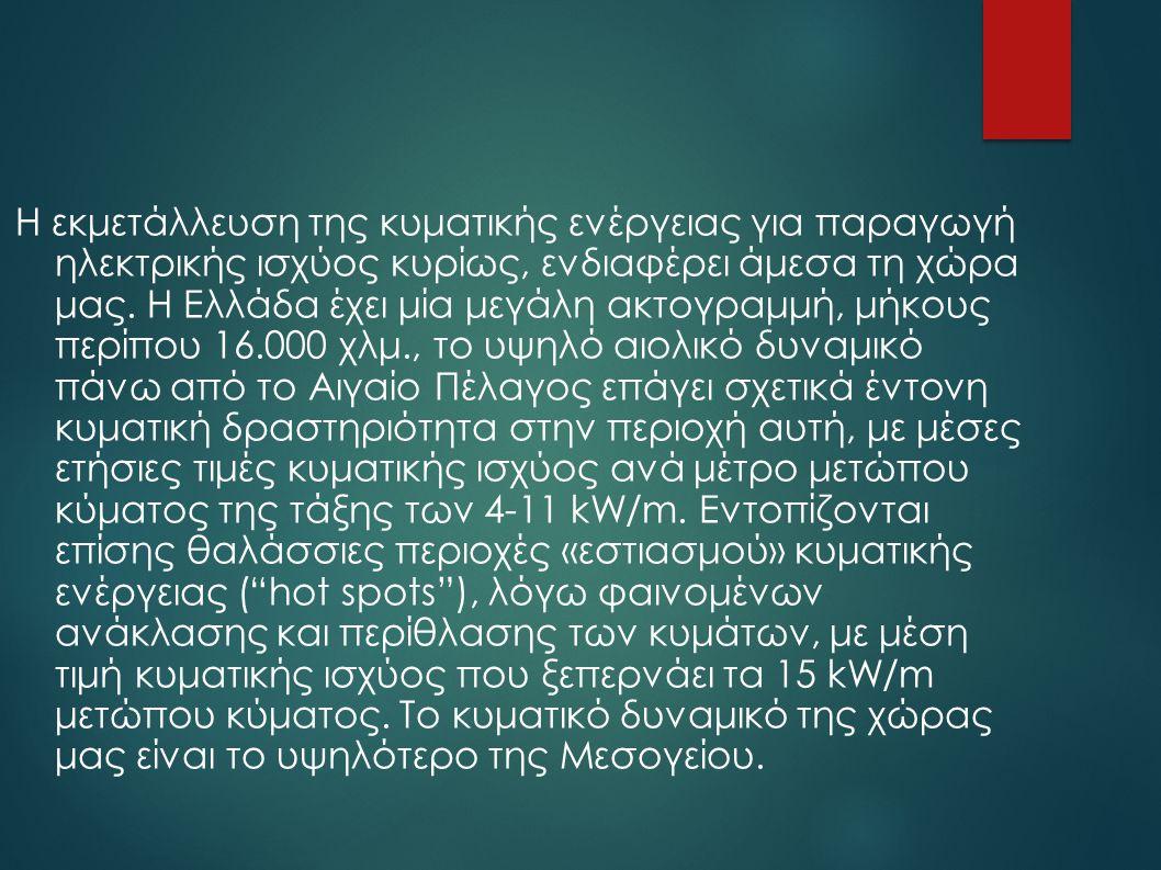 Η εκμετάλλευση της κυματικής ενέργειας για παραγωγή ηλεκτρικής ισχύος κυρίως, ενδιαφέρει άμεσα τη χώρα μας.