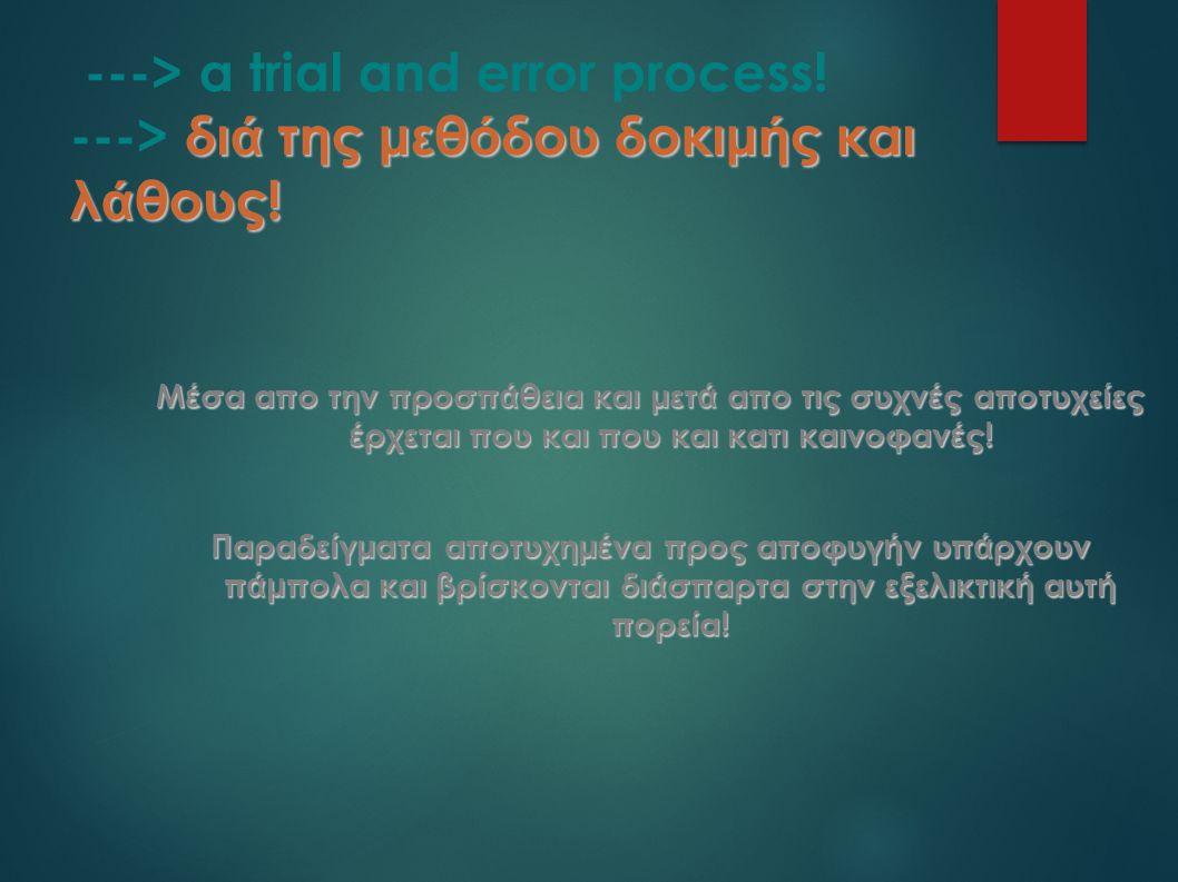 δι ά της μεθ ό δου δοκιμ ή ς και λ ά θους. ---> a trial and error process.