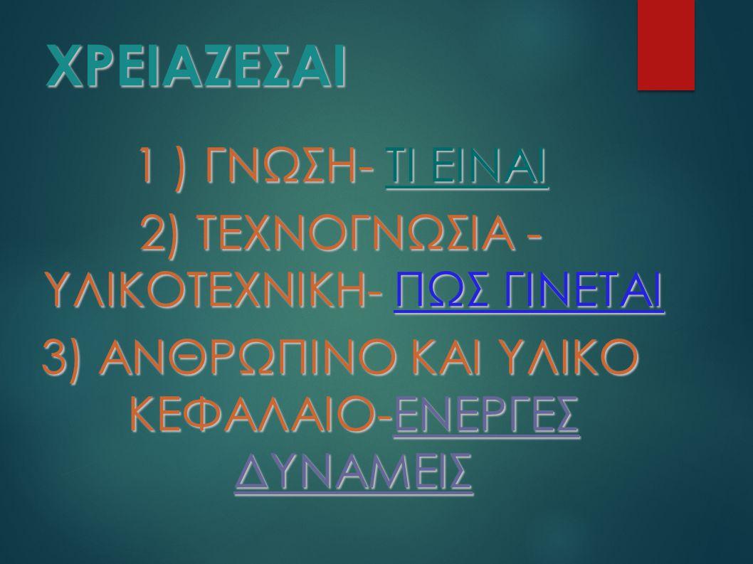 ΧΡΕΙΑΖΕΣΑΙ 1 ) ΓΝΩΣΗ- ΤΙ ΕΙΝΑΙ 2) ΤΕΧΝΟΓΝΩΣΙΑ - ΥΛΙΚΟΤΕΧΝΙΚΗ- ΠΩΣ ΓΙΝΕΤΑΙ 3) ΑΝΘΡΩΠΙΝΟ ΚΑΙ ΥΛΙΚΟ ΚΕΦΑΛΑΙΟ-ΕΝΕΡΓΕΣ ΔΥΝΑΜΕΙΣ