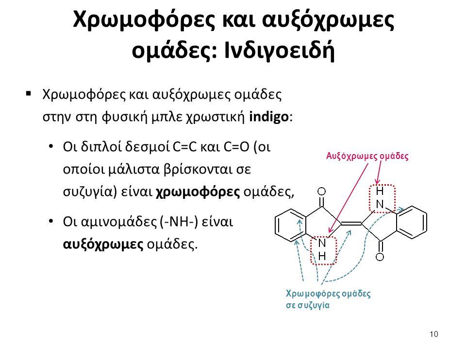 Χρωμοφόρες και αυξόχρωμες ομάδες: Ινδιγοειδή  Χρωμοφόρες και αυξόχρωμες ομάδες στην στη φυσική μπλε χρωστική indigo: Οι διπλοί δεσμοί C=C και C=O (οι