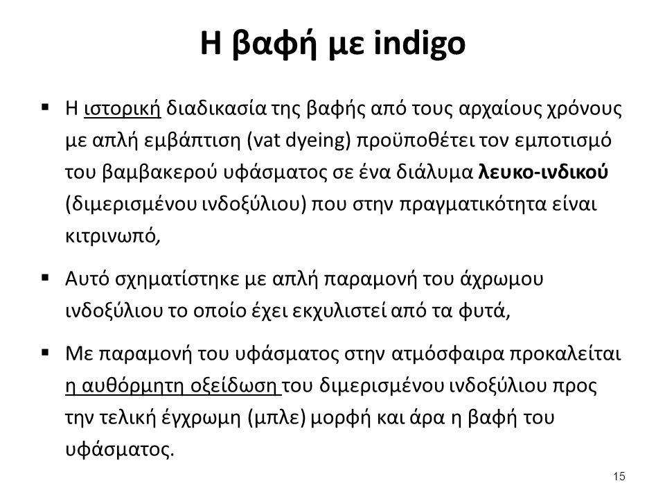 Η βαφή με indigo  Η ιστορική διαδικασία της βαφής από τους αρχαίους χρόνους με απλή εμβάπτιση (vat dyeing) προϋποθέτει τον εμποτισμό του βαμβακερού υ