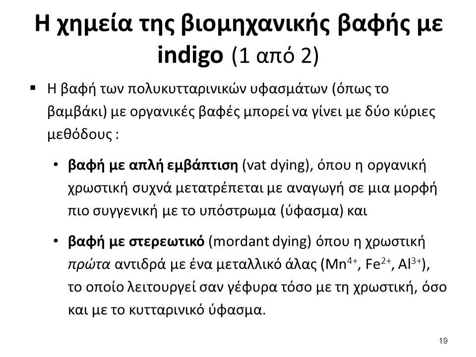 Η χημεία της βιομηχανικής βαφής με indigo (1 από 2)  Η βαφή των πολυκυτταρινικών υφασμάτων (όπως το βαμβάκι) με οργανικές βαφές μπορεί να γίνει με δύ