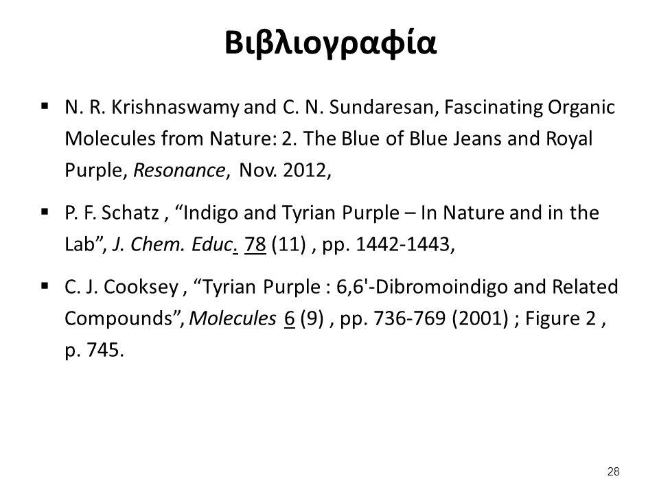 Βιβλιογραφία  N. R. Krishnaswamy and C. N. Sundaresan, Fascinating Organic Molecules from Nature: 2. The Blue of Blue Jeans and Royal Purple, Resonan
